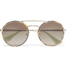 Prada Round-frame tortoishell acetate and gold-tone sunglasses (955 BRL) ❤.  Oculos ... 92784a7053