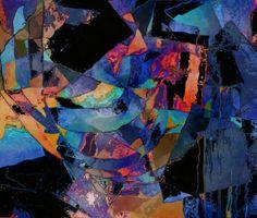 Estampado digital abstracto de tendencia cubista en tonos azules contrastados con rojos, anaranjados y amarillos, de Universo Solariana.