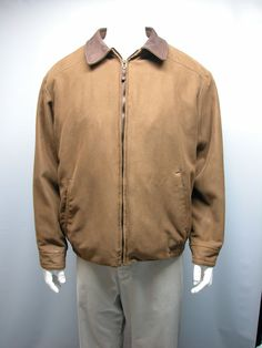 Roundtree And Yorke Outdoors Men's Brown Jacket Leather Collar Sz XL ( STAINS) #RoundtreeYorke #FlightBomber