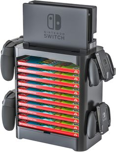 Stackable game storage tower compatible with nintendo switch. Product Features Game Storage Stand and Accessory Drawer Compatible with Nintendo Switch Organize Nintendo Switch Accessories, Gaming Accessories, Game Boy, Video Game Storage, Video Game Organization, Nintendo Room, 17 Kpop, Nintendo Switch Case, Video Game Rooms