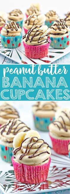 Peanut Butter Banana Cupcakes: Banana cupcakes filled with chocolate ganache and covered with fluffy peanut butter buttercream frosting. {Bunsen Burner Bakery} via Köstliche Desserts, Best Dessert Recipes, Cupcake Recipes, Cupcake Cakes, Cupcake Fillings, Gourmet Cupcakes, Muffin Recipes, Cupcakes Amor, Banana Cupcakes