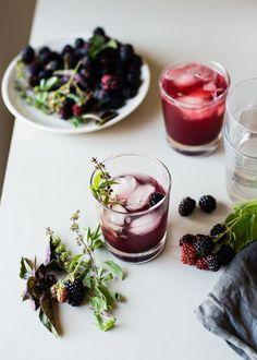 Blackberry Kombucha Shrub Cocktail // Cafe Johnsonia // serve in citrus loliware edible cups Cointreau Cocktail, Basil Cocktail, Kombucha Cocktail, Refreshing Drinks, Yummy Drinks, Yummy Food, Cocktail Recipes, Cocktail Drinks, Mexican Cocktails
