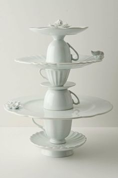 I could totally make this out of thrift store cups and plates. Tea cup cake stand £138 from Anthropologie tea-party