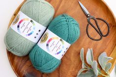 Lion Brand New Basic 175 yarn in Thyme and Juniper. Free crochet sweater pattern by Make and Do Crew.