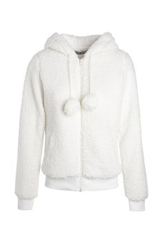 Faites-vous plaisir avec cette veste doudou très rigolote ! Sa capuche est surmontée de deux petites oreilles rondes et sa matière rappelle les peluches. Veste, coupe droite, col à capuche, 2 poches, cordon à pompons, coloris uni.<br/>