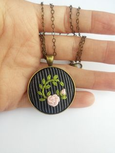 Pink Rose Necklace, Cottage Chic Flower Jewelry, Embroidered Pendant Necklace, Pink Flower Necklace, Romantic Gift by RedWorkStitches on Etsy https://www.etsy.com/listing/238619342/pink-rose-necklace-cottage-chic-flower