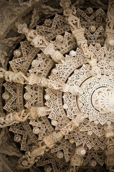 Carved marble at the Jain Adinatha Temple, Ranakpur, India. Photographer unknown. Searched & the closest image I found was this linked image by Fabian in 2008. via fabian-f on flickr. Anyone??