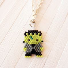 Frankenstein Beaded Pendant/Charm, Miyuki Delica seed beads, Brick Stitch Bead Weaving