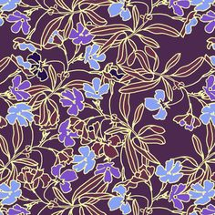 Garden Floral at Dusk fabric by joanmclemore on Spoonflower - custom fabric