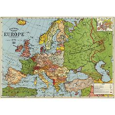 Antique map of Europe from the early 1930s before Hitler invaded Czechoslovakia. Ready for framing. $4.99
