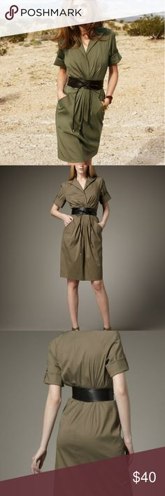 Lafayette 148 Army Green dresd Size 12 Lafayette 148 dress. The belt has some scratches Lafayette 148 New York Dresses Midi