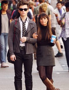 Chris Colfer and Lea Michele filming in NYC!