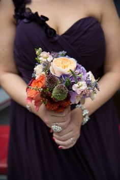 Bridesmaids bouquet with plum dress. I had 3 different colors of dresses - plum, light purple and grey