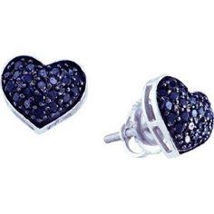 Heart Black Diamond Earring Studs 10k White Gold