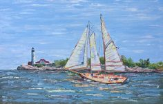 "Sailing to Portland Head Light, 24"" x 36"""