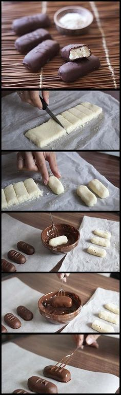 chocolatée à la noix de coco façon bounty maison So tempted by these homemade Mounds bar (Bounty bar in some parts of the world!So tempted by these homemade Mounds bar (Bounty bar in some parts of the world! Just Desserts, Delicious Desserts, Yummy Food, Tasty, Delicious Chocolate, Candy Recipes, Sweet Recipes, Dessert Recipes, Yummy Treats