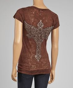 Look at this Brown Rhinestone Cross Burnout Tee on #zulily today!