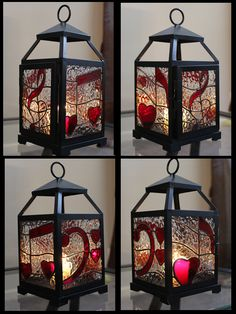 "Stained glass lantern - music and hearts themed - ""For the Love of Music"""