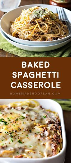 Baked Spaghetti Casserole! Revamp boring spaghetti by baking it in a deep dish filled with delicious cheeses, savory meats, and flavorful Ragú sauce. #sponsored | HomemadeHooplah.com