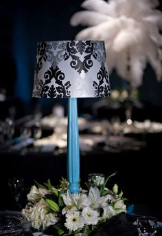 lampshade wedding centerpieces - so cute and matches my number cards perfectly Banquet Centerpieces, Wedding Reception Centerpieces, Wedding Reception Decorations, Flower Centerpieces, Centerpiece Ideas, Centrepieces, Reception Ideas, Flower Arrangements, Black Red Wedding