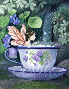 Tea Teacup Fairy Art Bath (share w/Anne) Magical Creatures, Fantasy Creatures, Fantasy Kunst, Fantasy Art, Elfen Fantasy, Kobold, Fairy Pictures, Love Fairy, Beautiful Fairies