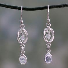 Novica Moonstone dangle earrings, Rainbow Ice - Moonstone and Sterling Silver Dangle Earrings