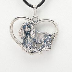 """Sterling Silver Cocker Spaniel Pendant w/ 18"""" Sterling Chain by Donna Pizarro fr the Animal Whimsey Collection of Fine Dog Jewelry by DonnaPizarroDesigns on Etsy"""