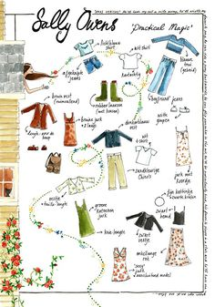 Lovely detailed sketches of some of the items in Sally's closet.