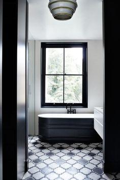 Black + White bath   Tile flooring   Bathroom Inspiration   Dish on Design #myct