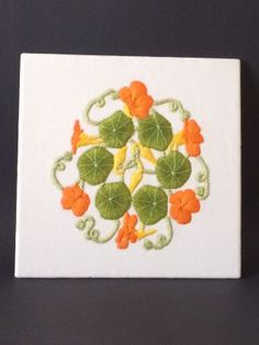 The final stretched and mounted 'Nasturtiums' embroidery | Ruth O'Leary Textile Art