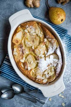 Pear and vanilla clafoutis.