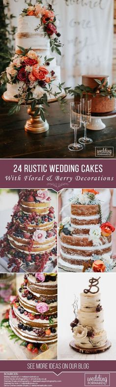 A wedding cake covered with flowers or beautiful berries is absolutely a must for a rustic wedding. Rustic cakes are such a beautiful choice for a country, barn, or any outdoor themed wedding. There are many styles from buttercream frosting to absolutely naked that will complement your theme. We hope these rustic wedding cakes photos with floral & berry decorations will inspire your design.  #weddingforward #wedding #bride #WeddingCakes #RusticWeddingCakes #weddingcakedesigns