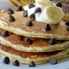 "Chunky Monkey Pancakes | ""These chocolate and banana pancakes are a delicious breakfast treat."""
