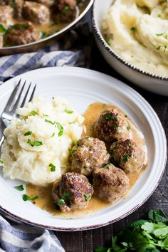 These Paleo Swedish meatballs in a creamy gravy, with dairy-free, Whole30 friendly mashed potatoes is pure comfort food for cold nights.  Made with real-food ingredients, gluten-free, dairy-free, family approved!