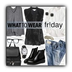 """""""What to wear Friday!"""" by sapora ❤ liked on Polyvore featuring J.Crew, COSTUME NATIONAL, Vince, Diane Von Furstenberg, Burberry, Ray-Ban, Mark Broumand and shoptilyoudrop"""
