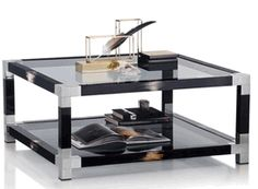 Signature Collection: Black Buffalo Horn Detailed Glass Coffee Table * Chromed Brass Accents * 18  x 39 x 39 inches * Partner Console Tables & Side Tables Available