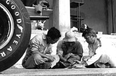 A Honda mechanic, Yoshio Nakamura and Ronnie Bucknum working things out upon the RA271 race debut…Nurburgring pit apron 1964. None of the 'flash surroundings' for mechanics of the modern era. (Bernard Cahier)
