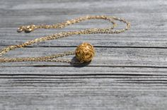 Gold bali bead necklace balinese style necklace. by starrydreams, $60.00