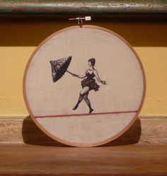 tightrope walker embroidered hoop art