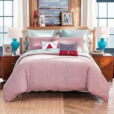 LOVO Michelle Reversible 100% Cotton 4-Piece Bedding Set Duvet Cover Flat Sheet 2x Shams King Pink&Mint