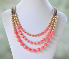 Chunky Statement Necklace in Coral and Gold. Bright by RusticGem, $75.00