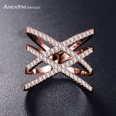 Hot!Bottom Price Only 2 Weeks Fashion Rings for Women Double Letter X Shape Ring Zirconia Micro Paved Silver Plated Women Anel
