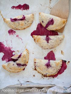 Cherry cheese hand pies, from Foodie Crush. Just Desserts, Delicious Desserts, Yummy Food, Cherry Desserts, Pecan Danish Recipe, Fruit Recipes, Dessert Recipes, Cherry Hand Pies, Breakfast Pastries
