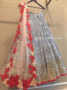 Find trending grey lehenga designs for brides and bridesmaids. Stunning grey and silver-coloured lehenga images for this wedding season must check out. Lehenga Designs, Bridal Lehenga, Red Lehenga, Lehenga Choli, Indian Wedding Outfits, Indian Outfits, Eid Outfits, Indian Weddings, Indian Attire