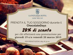 Dal 19 al 22 marzo 2015, il lungomare di #Salerno si farà teatro della prima edizione del #ChocolateDays, la festa del #cioccolato artigianale. Prenota il tuo soggiorno con il 20% di sconto inviando la tua richiesta a booking@lloydsbaiahotel.it oppure chiama allo 089 76 33 111.  VI ASPETTIAMO PER UNA DOLCE PAUSA DI RELAX www.lloydsbaiahotel.it