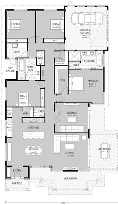 From innovative single storey house plans to traditional single storey homes, we are the single storey home builders Perth comes to for idyllic modern lifestyles. Browse our portfolio for your perfect home here. Narrow Lot House Plans, Garage House Plans, New House Plans, Dream House Plans, Modern House Plans, House Floor Plans, House Plans Australia, Home Design Floor Plans, House Ideas