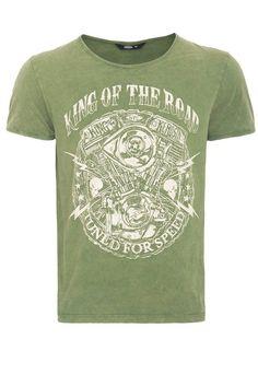 KingKerosin T-Shirt »King of the road«, mit »marble-effect« Waschung und Print für 34,99€. T-Shirt v. der Kultmarke King Kerosin, Hochwertige Baumwolle bei OTTO