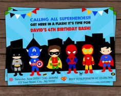 Superheroes Invitation Double Birthday por LaughingWillowDesign