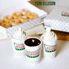 Toni Ellison: Krispy Kreme Doughnuts & Coffee : Miniature Polymer Clay Food Tutorial
