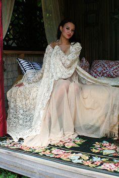 Bridal Robe Wedding Lingerie Ivory Lace Robe Bridal Sleepwear Angel Sleeve Boudoir Trousseau Sarafina Dreams 2012 Bridal